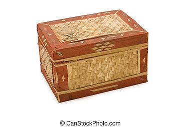 古代, 白, 小箱, 隔離された, 背景