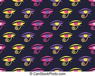 古代, 目, horus, エジプト人, pattern., seamless, イラスト, シンボル。, お守り, ベクトル