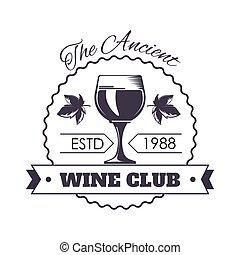 古代, 紋章, クラブ, ガラス, フルである, モノクローム, ワイン