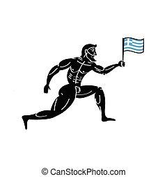 古代, 運動, 国民, ギリシャのフラグ, ギリシャ, ランナー