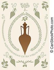 古代, amphora., シンボル, ギリシャ語, オイル, オリーブ