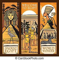 古代, banners., ピラミッド, ベクトル, 偉人, 神, エジプト
