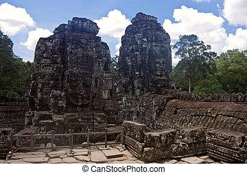 古代, bayon, cambodia., 台なし, 寺院, angkor