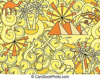 古代, illustration., elements., エジプト人, エジプト, いたずら書き, pattern., seamless, 手, ベクトル, 引かれる