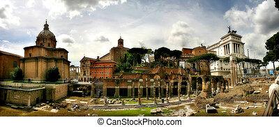 古代, italy., ローマ, パノラマである, 台なし, 光景