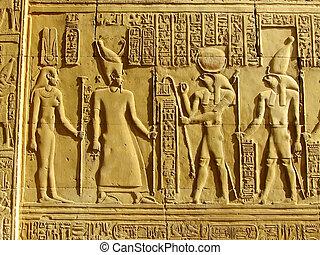 古代, kom, 壁, ombo, hieroglyphics, 寺院