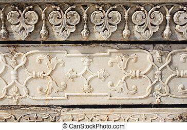 古代,  MAHAL, インド, 花, 刻まれた, 大理石,  TAJ