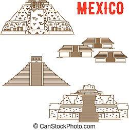 古代, maya, メキシコ\, インカ人, ランドマーク, 文化