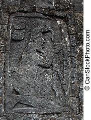 古代, mayan, 彫刻
