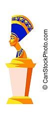 古代, nefertiti, 女王, エジプト, 像, ファラオ