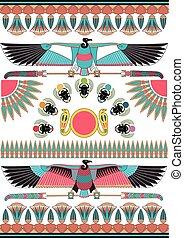 古代, patterns., 壁画, 彫刻, エジプト人