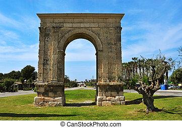 古代, roda, de, ローマ人, 弧, bera, triumphal アーチ, スペイン, 光景