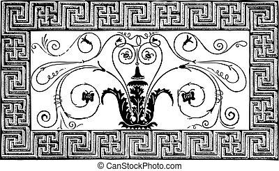 古代, volutes, ローマ人, パリ, pittoresque, patterns., 細部, 幾何学的, 雑誌,...