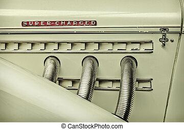 古典的な 車, イメージ, レトロ, スタイルを作られる, サイド光景