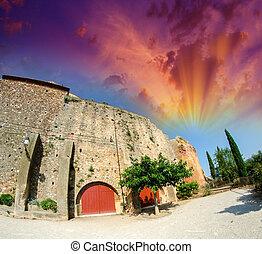 古老, 中世紀, 建築物, 由于, 紅色, 入口, 門