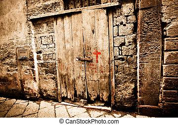 古老, 木頭, 門