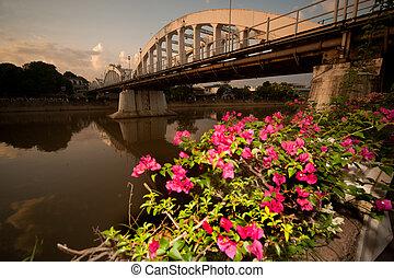 古老, 橋梁, 在, sunset.