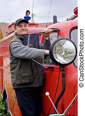 古老, 消防車, 人, 燈籠