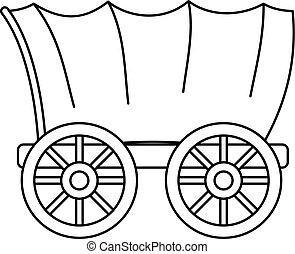 古老, 西方, 被蓋的 無蓋貨車, 圖象, outline, 風格
