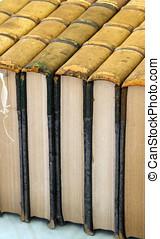 古董, 书, 堆积, 一起