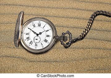 古董, 口袋, 沙子, 观看
