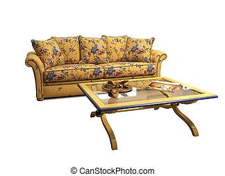 古董, 咖啡, decrated, 沙发, 隔离, 桌子, 白色