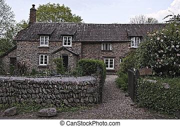 古董, 房子, 在中, 英语, countrysid