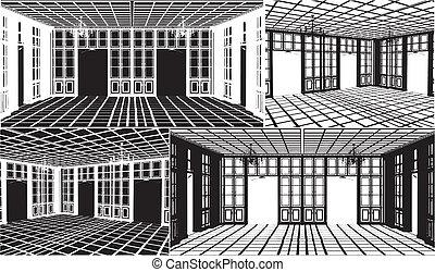 古董, 書櫥, 房間, 黑色半面畫像