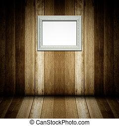 古董, 木制的框架, 白的房间