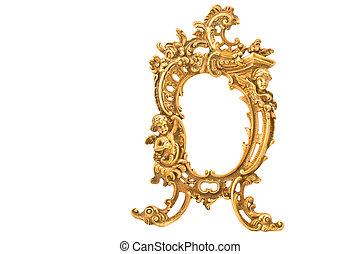 古董, 框架, 白色, 隔离, 巴罗克艺术风格, 黄铜