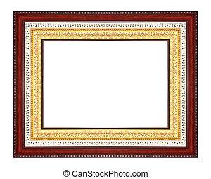 古董, 框架, 白色, 隔离, 背景