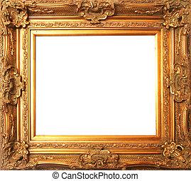 古董, 框架, 老, 金子