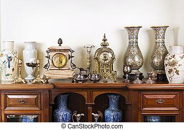 古董, 瓶, 以及, clocks