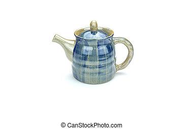 古董, 白色, 隔离, 背景, 茶壶
