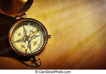 古董, 老, 在上方, 背景, 指南針, 黃銅