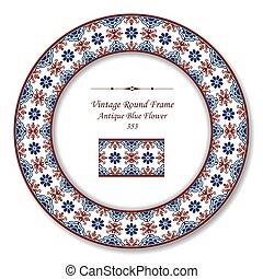 古董, 藍色的花, 葡萄酒, 框架, retro, 輪
