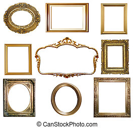 古董, 金色, 框架, 隔离, 背景, 白色