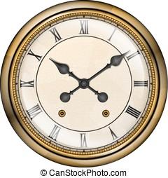 古董, 鐘, 由于, 羅馬, 數字, 矢量, 被隔离, 在懷特上