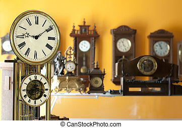 古董, clocks, 老