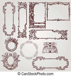 古董, victorian, 框架