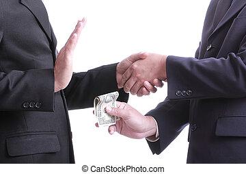 另一个, 人们, 钱, 给, 但是,, 某样东西, 背景, unaccepted, 商人, 腐败