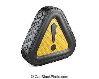 叫び, タイヤ, 注意, シンボル。, 印, 警告, 印