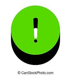 叫び 印, 印。, vector., 緑, 3d, アイコン, ∥で∥, 黒, 側面
