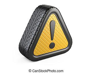 叫び, 自動車, 注意, シンボル。, 印, 警告, tyre の印