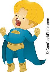 叫ぶこと, わずかしか, 子供, superhero, 男の子