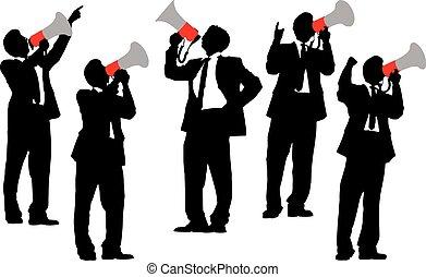 叫ぶこと, メガホン, ビジネス男性たち