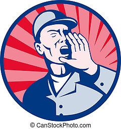 叫ぶこと, 労働者, 口, 手