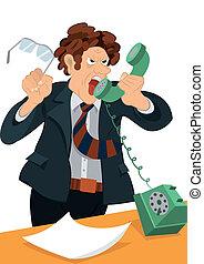 叫ぶ, 作られた, レトロ, 古い, 電話, 人, 情報通