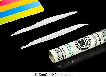 可卡因, 錢, 卡片, 塑料