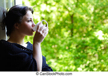 可愛, 女孩, 由于, a, 咖啡的杯子